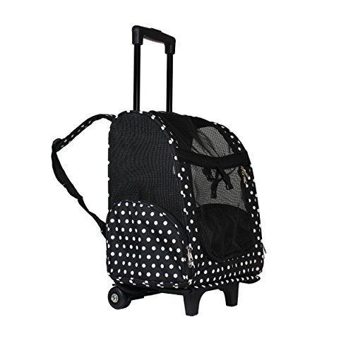 World Traveler 18-inch Rolling Pet Carrier Backpack - Black White Dot