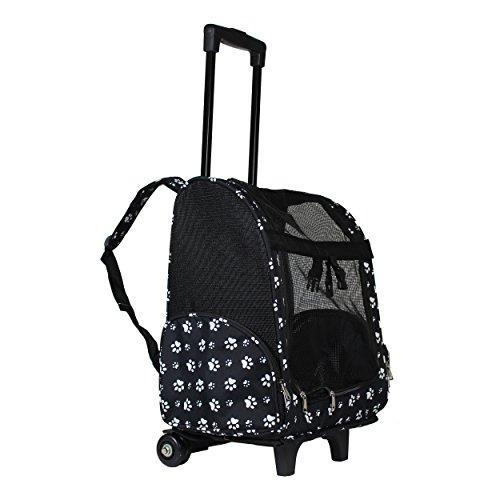 World Traveler 18-inch Rolling Pet Carrier Backpack - Black White Paws