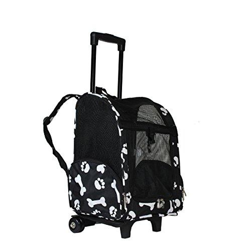 World Traveler 18-inch Rolling Pet Carrier Backpack - Black White Paws and Bones