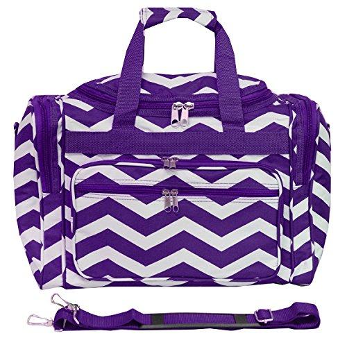 World Traveler 16-inch Carry-On Duffel Bag - Purple White Chevron