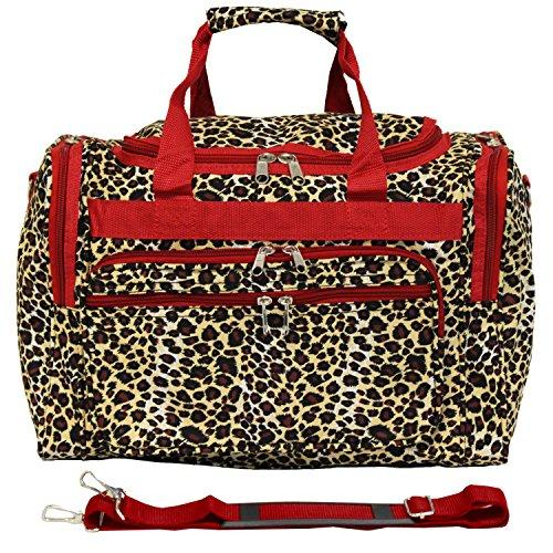 World Traveler 16-inch Carry-On Duffel Bag - Red Trim Leopard