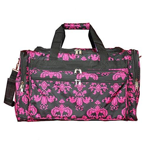 World Traveler 16-inch Carry-On Duffel Bag - Black Pink Damask