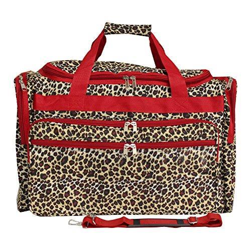 World Traveler 19-inch Carry-On Shoulder Duffel Bag - Red Trim Leopard