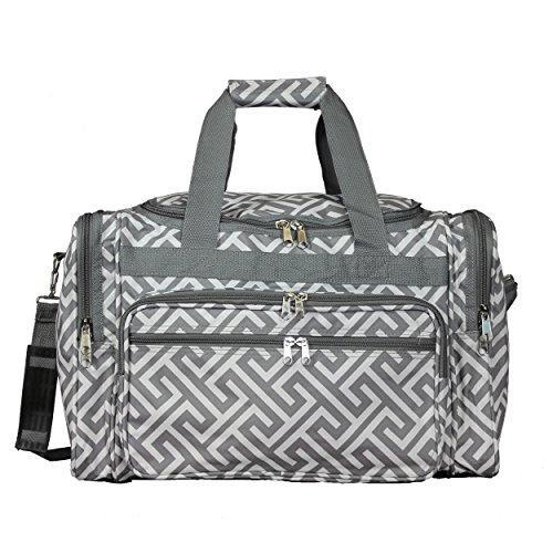 World Traveler 19-inch Carry-On Shoulder Duffel Bag - Greek Key H Grey White