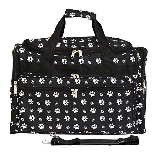 World Traveler 19-inch Carry-On Shoulder Duffel Bag - Black White Paws