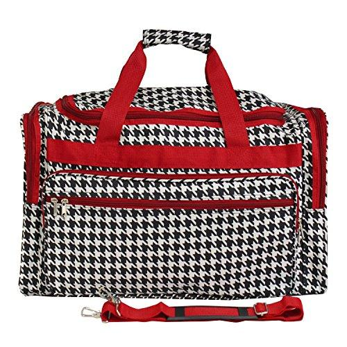 World Traveler 19-inch Carry-On Shoulder Duffel Bag - Red Trim Houndstooth