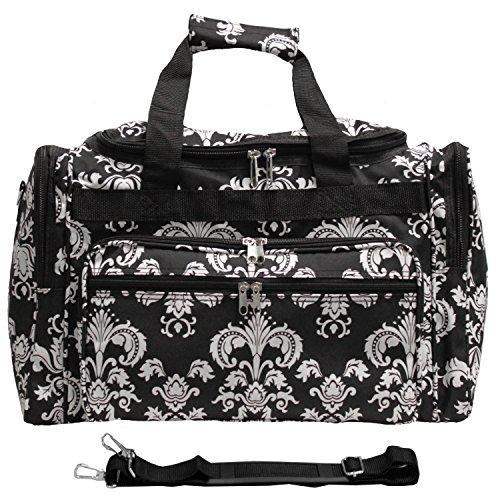 World Traveler 19-inch Carry-On Shoulder Duffel Bag - Black White Damask II