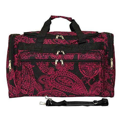 World Traveler 19-inch Carry-On Shoulder Duffel Bag - Black Pink Paisley