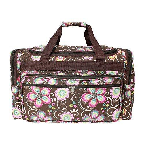 World Traveler 22-inch Travel Duffel Bag - Brown Daisy