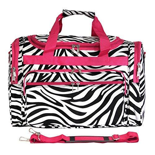 World Traveler 22-inch Travel Duffel Bag - Pink Trim Zebra