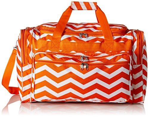 World Traveler 22-inch Travel Duffel Bag - Orange White Chevron