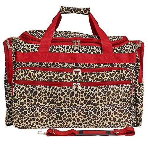 World Traveler 22-inch Travel Duffel Bag - Red Trim Leopard