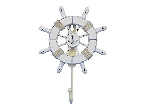 Rustic All White Decorative Ship Wheel with Anchor and Hook 8''