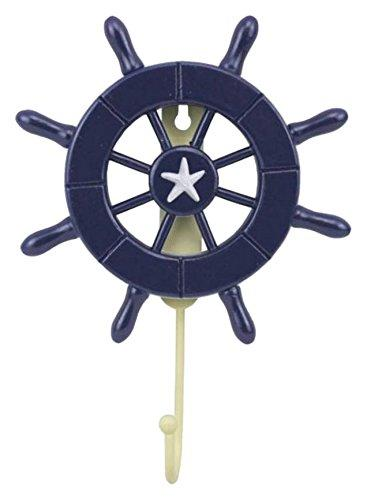 Dark Blue Decorative Ship Wheel with Hook 8''