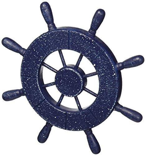Rustic All Dark Blue Decorative Ship Wheel with Anchor and Hook 8''