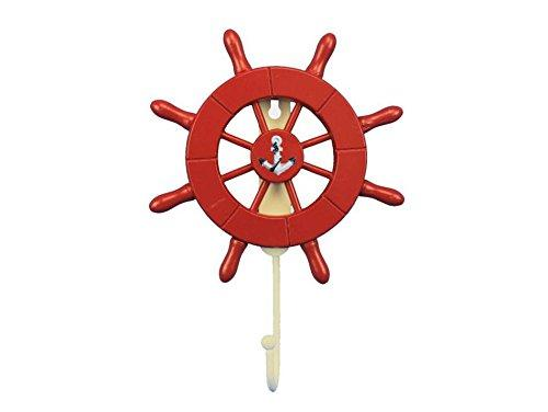 Red Decorative Ship Wheel with Anchor and Hook 8''