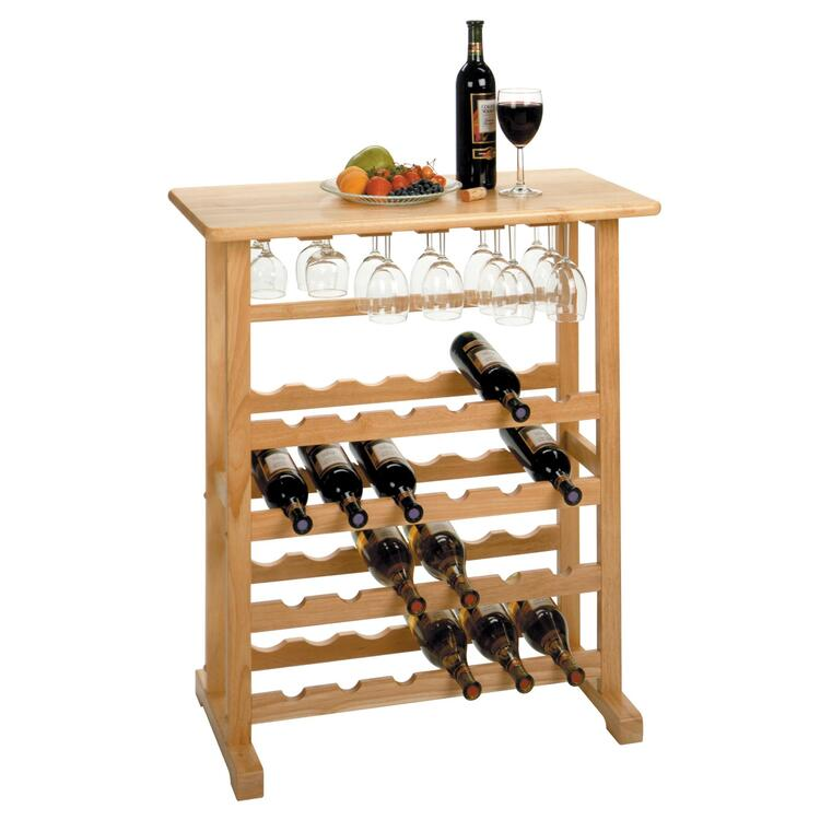 24-Bottle Wine Rack with Glass Rack - Winsome - 83024