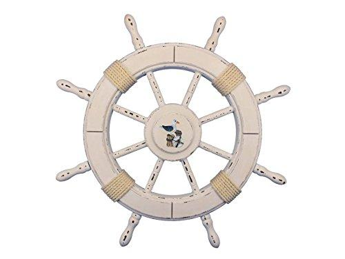 Rustic All White Decorative Ship Wheel With Seagull 24''