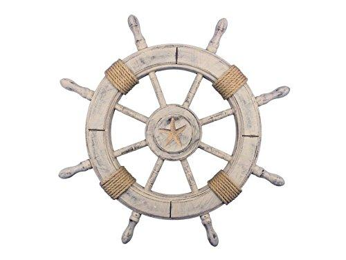 Rustic Decorative Ship Wheel With Starfish 24''