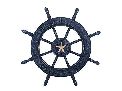 Rustic All Dark Blue Decorative Ship Wheel With Starfish 24''