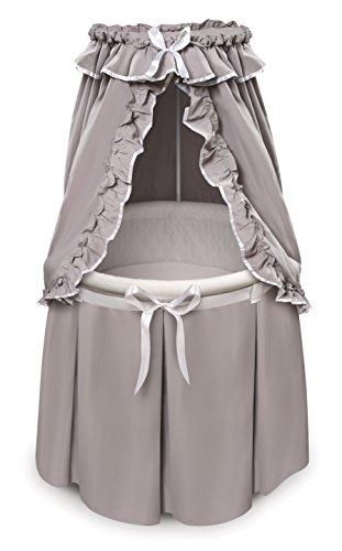 Badger Basket Empress Round Baby Bassinet with Canopy - Gray/White