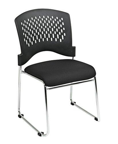 Visitors Chair with Plastic Back Black FreeFlex®Fabric Seat and Sled Base-Chrome Finish