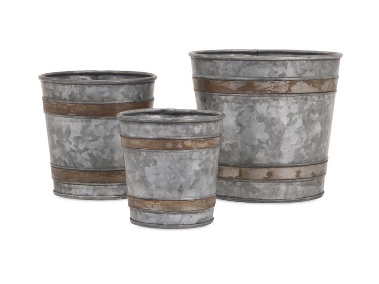 Becki Galvanized Pots - Set of 3