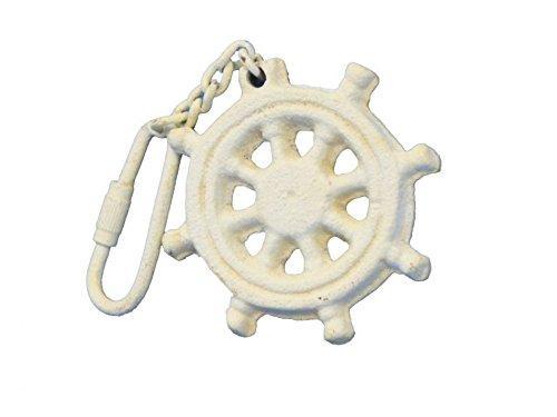 Antique White Cast Iron Ship Wheel Key Chain 5''