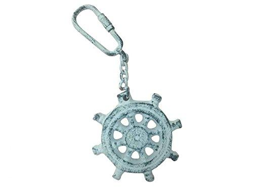 Dark Blue Whitewashed Cast Iron Ship Wheel Key Chain 5''