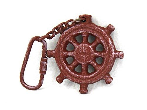 Red Whitewashed Cast Iron Ship Wheel Key Chain 5''