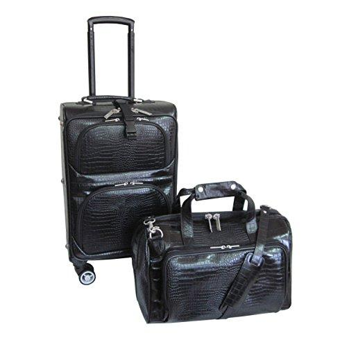 Amerileather Leather Croco-Print Two Piece Set Traveler on Spinner Wheels