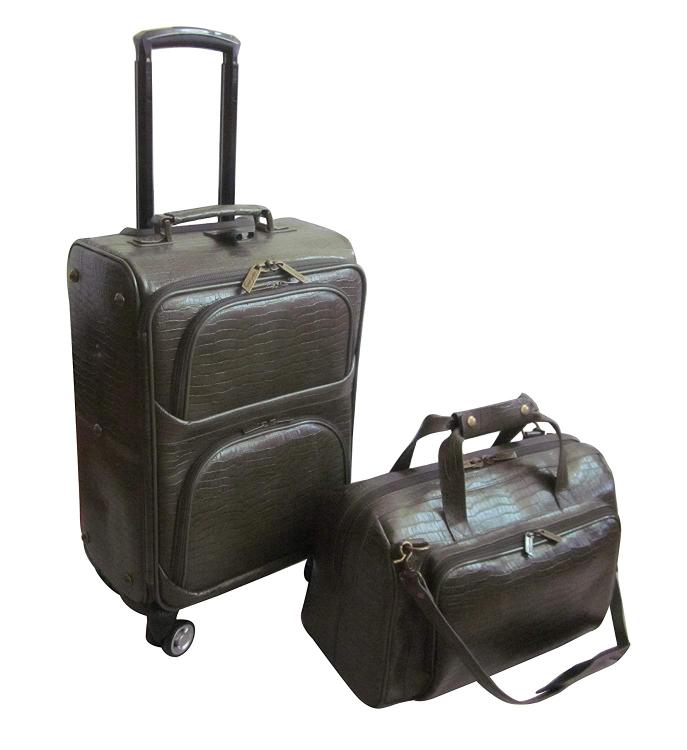 Amerileather Leather Croco-Print Two Piece Set Traveler on Spinner Wheels [Item # 8602-6]