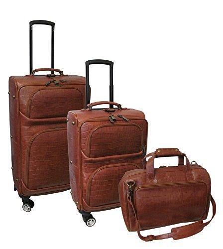 Amerileather Leather Croco-Print Three Piece Set Traveler on Spinner Wheels