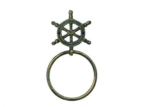 Antique Bronze Cast Iron Ship Wheel Towel Holder 8.5''