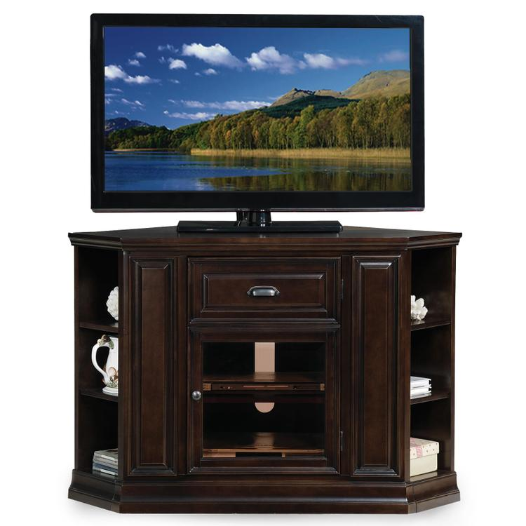 Leick Home Corner TV Console With Bookcase Ends