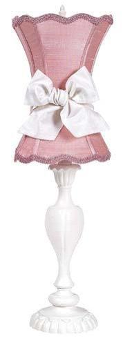 Shade - Med - Scallop Hourglass ? Pink on Base - LG - Curvy Candle - White