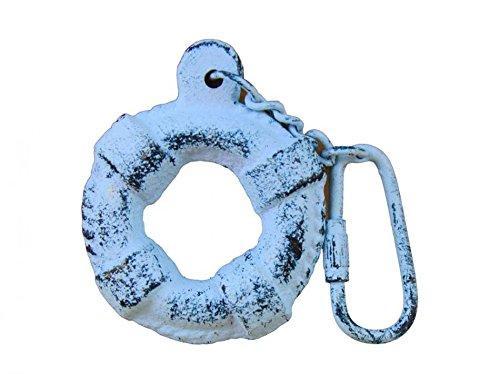 Rustic Dark Blue Whitewashed Cast Iron Lifering Key Chain 5''