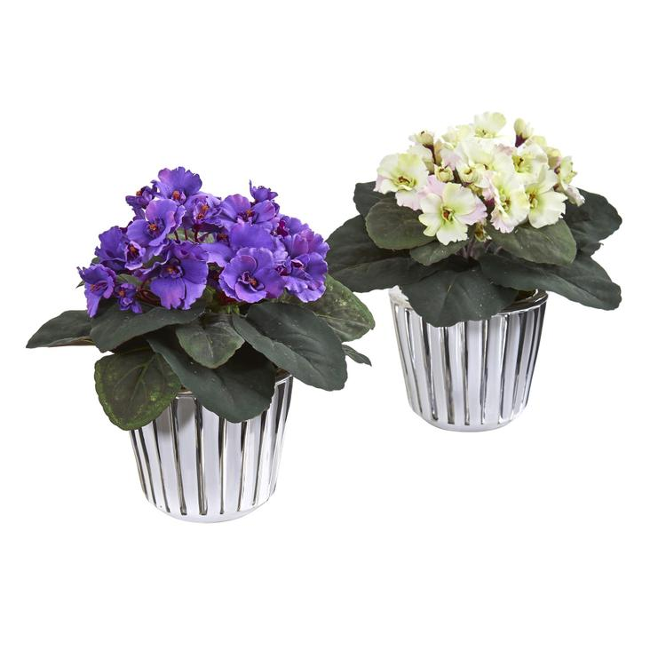 Nearly Natural African Violet Artificial Plant in White Vase - Set of 2