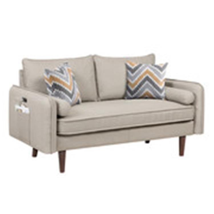 Lilola Home Mia Mid-Century Modern Beige Linen Loveseat Couch with USB Charging Ports & Pillows [Item # 87822-L]