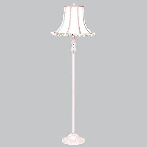 Shade - X-Large - White Ruffle/Pink trim  on Pink Floor Lamp