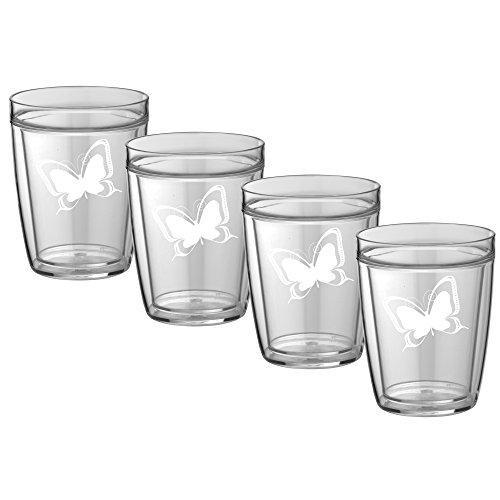Kasualware 14 Oz Doublewall Short Drink Butterfly Set/4