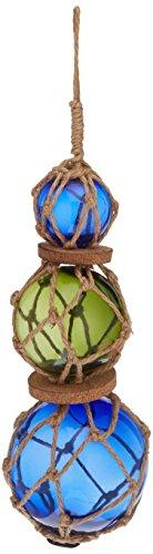 Blue - Green - Blue Japanese Glass Ball Fishing Floats with Brown Netting Decor