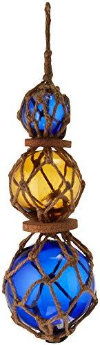 Blue - Amber - Blue Japanese Glass Ball Fishing Floats with Brown Netting Decor