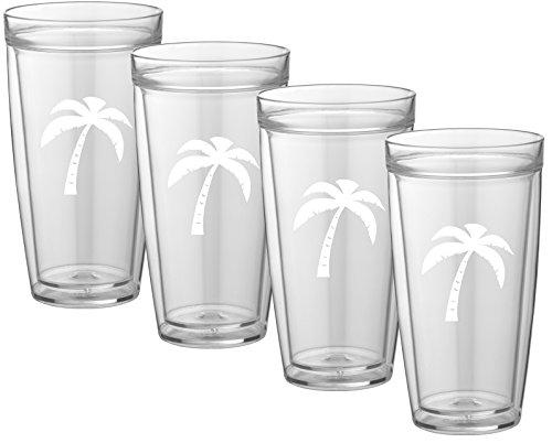 Kasualware 22 Oz Doublewall Tall Drink.  Palm Tree Set/4