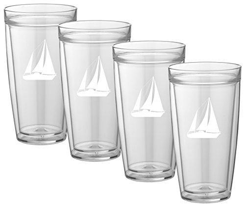 Kasualware 22 Oz Doublewall Tall Drink.  Sailboat Set/4
