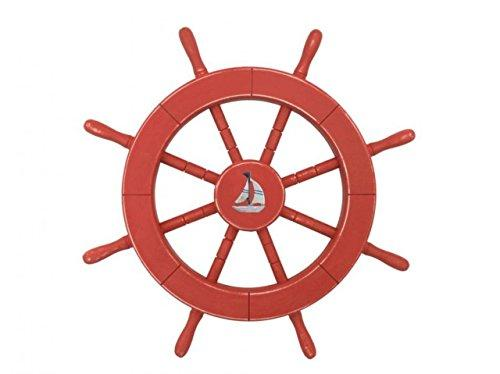 Rustic Red Decorative Ship Wheel With Sailboat 18''