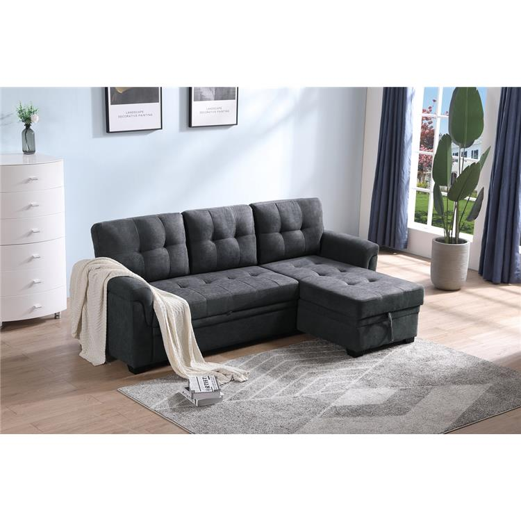 Lilola Home Lucca Dark Gray Woven Fabric Reversible Sleeper Sectional Sofa Chaise with Storage [Item # 89140]