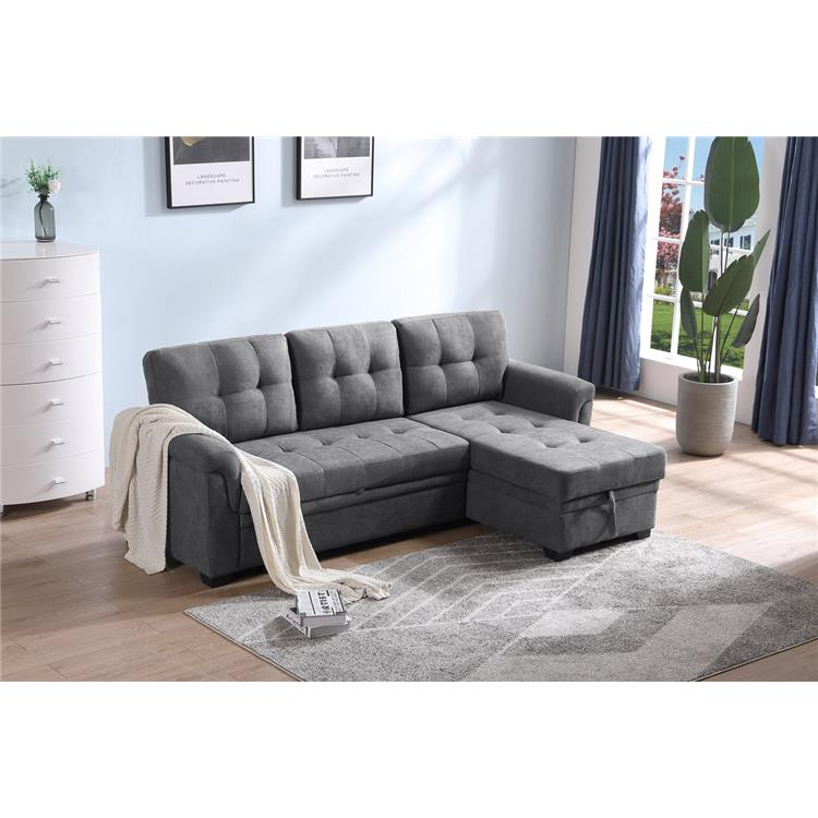 Lilola Home Lucca Gray Woven Fabric Reversible Sleeper Sectional Sofa Chaise with Storage [Item # 89142]