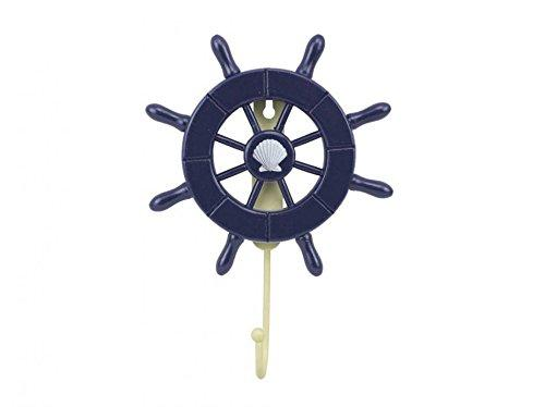 Dark Blue Decorative Ship Wheel with Seashell and Hook 8''