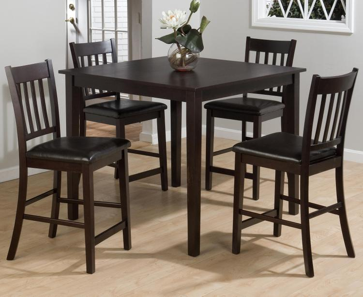 Marin County Merlot 5 Pack - Table And 4 Slat Back Stools W/ Faux Leather Seat Packed In One Carton